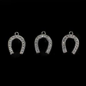 Silver Plated Base Metal CZ Horseshoe Charm Approx 20x15mm 3pc/pack