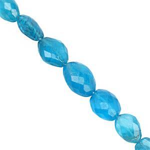 35cts Neon Apatite Center Drill Graduated Faceted Pebble Approx 6.5x5.5 to 11.5x8.5mm, 15cm Strand