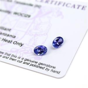 1.35cts  Tanzanite 8x6mm Oval Pack of 2 (H)