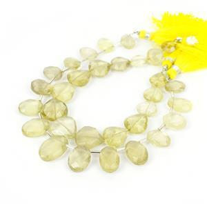 Lemony! Inc; 75cts Lemon Quartz Faceted Hearts & 75cts Lemon Quartz Graduated Ovals.