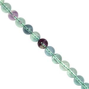 104cts Blue Green Flourite Smooth Round Approx 6mm, 30cm Strand