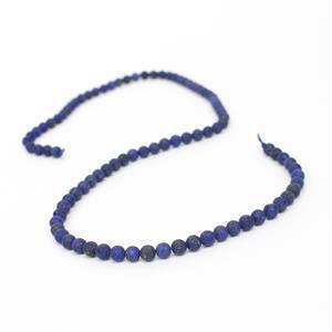 40cts Dyed Lapis Lazuli Plain Matt Rounds Approx 4mm, 38cm strand