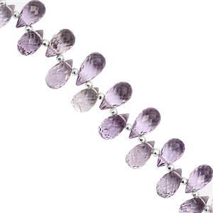 52cts Rose De France Amethyst Top Side Drill Faceted Drop Approx 7.50x5 to 11x6.5mm, 10cm Strand with Spacers