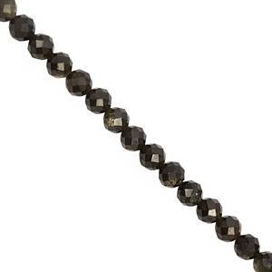 30 cts Golden Sheen Obsidian Faceted Round Approx 4.3mm, 30cm Strand