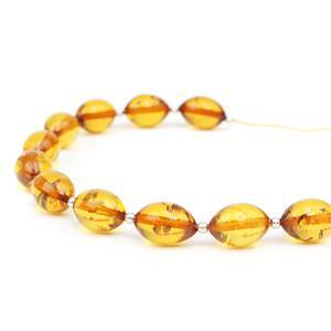 Baltic Cognac Amber Rounded Marquise Bead 12x8mm, 20cm Strand Inc. Sterling Silver Spacers