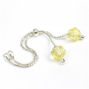 Sterling Silver Slider Bracelet with Baltic Lemon Amber Bead Approx 10x8mm