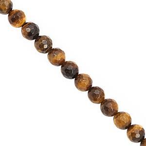 130cts Tigers Eye Faceted Round Approx 7.50 to 8mm, 30cm Strand