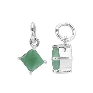 925 Sterling Silver Square Charm with 1.2cts Sakota Emerald, 5x7mm (2pcs)
