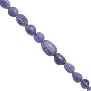 65cts Tanzanite Smooth Tumble Approx 4x5 to 11x8mm, 21cm Strand