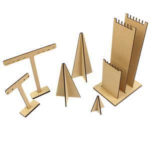 MDF Display Set Inc 2x T-bar Earring Stands, 1x Multi Bracelet Display & 3x Display Cones