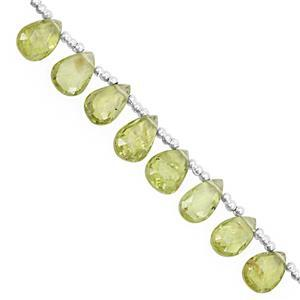 25cts Peridot Top Side Drill Graduated Faceted Pear Approx 5.5x3.5 to 10x7mm, 16cm Strand with Spacer