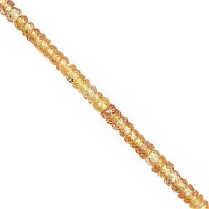 12cts Saffron Sapphire Graduated Faceted Rondelle Approx 1.5x1 to 3x1mm, 14cm Strand