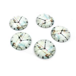 Vintage Lighthouse Clock Glass Cabochons, Approx 25mm (5pcs/pack)