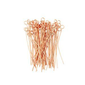 Rose Gold Plated Base Metal Eyepins, 4x40mm (100pcs)