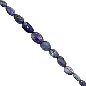 28cts Shaded Tanzanite Graduated Smooth Tumbles Approx 6.5x4.5 to 12x9mm, 10cm Strand