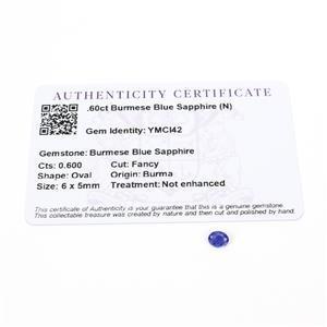 0.6cts Burmese Blue Sapphire 6x5mm Oval  (N)