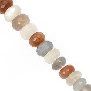 115cts Multi-Colour Moonstone Faceted Rondelle Approx 7x4 to 10x6mm, 22cm Strand