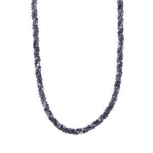 Blue Sapphire Twisted 3 Row Bead Necklace Sterling Silver 53.90ct