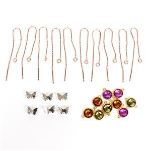 Silver, Gold & Rose Gold Plated Base Metal Multi Cilourd CZ Connectos.
