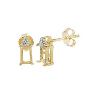 Gold Plated 925 Sterling Silver Octagon Earrings Mount (To fit 6x4mm gemstones) Inc. 0.08cts White Zircon Brilliant Cut Round 1.30mm- 1 Pair
