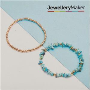 Gold Plated 925 Sterling Silver Bead & Turquoise Bracelets Kit