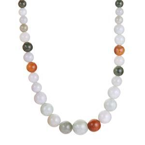 Burmese Jade Graduated Necklace with in Sterling Silver 206.70cts