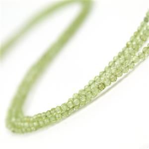 Black Friday Deal  Under £10 3x 11cts Peridot Faceted Rounds Approx 2.3x2.1mm 30cm Strand