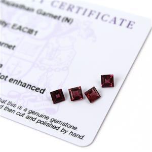 1.5cts Rajasthan Garnet 4x4mm Square Pack of 4 (N)