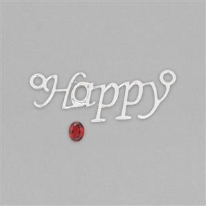 925 Sterling Silver 'Happy' Letter Connector Mount Fits 8x6mm Oval Inc. 1.2cts Red Garnet 8x6mm Oval