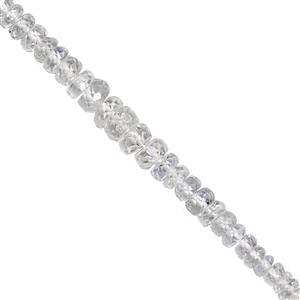 10cts White Sapphire Graduated Faceted Rondelle Approx 1.5x1 to 4x2mm, 12cm Strand