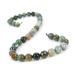 260cts Fancy Jasper (Indian Jasper) Faceted Rounds Approx 10mm, 38cm Strand