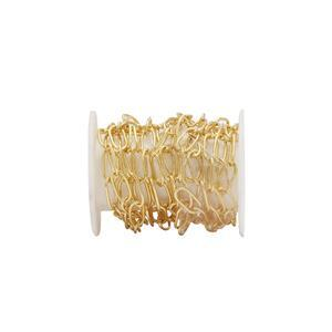 Gold Plated Base Metal Cable Chain, Approx. 7x3.5mm (1m)