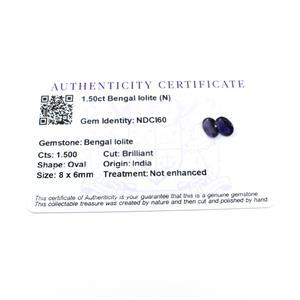 1.5cts Bengal Iolite 8x6mm Oval Pack of 2 (N)