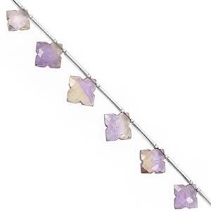 25cts Ametrine Graduated Faceted Square Approx 8 to 13.50mm, 19cm Strand with Spacers