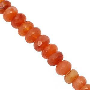 100cts Carnelian Graduated Faceted Rondelle Approx 6x4 to 9.5x6mm, 23cm Strand
