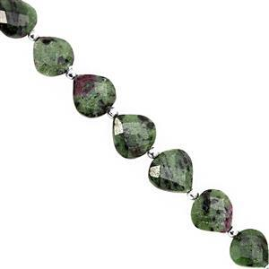 50cts Ruby Zoisite Straight Drill Faceted Heart Approx 8 to 12.50mm, 14cm Strand with Spacers