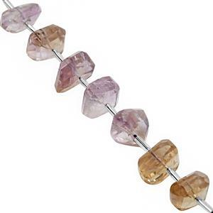 100cts Ametrine Graduated Faceted Unusual Tumbles Approx 11x4 to 17x8mm, 14cm Strand with Spacers