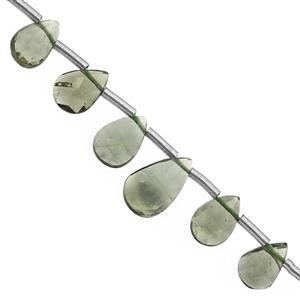 3.65cts Moldavite Graduated Faceted Pear Approx 3.5x2 to 7x5mm, 7cm Strand with Spacers