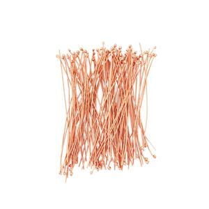 Rose Gold Plated 925 Sterling Silver Feather Weight Head Pins Approx 40mm, Ball Approx 1mm-(100pcs/pk).