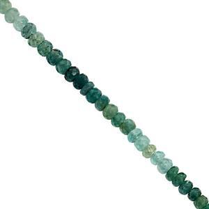 28cts Grandidierite Faceted Rondelles Approx 3.5x2 to 5x3mm, 16cm Strand