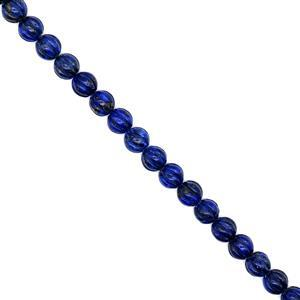 300cts Dyed Lapis Lazuli Carved Ribbed Rounds, Approx 10mm, 38cm strand