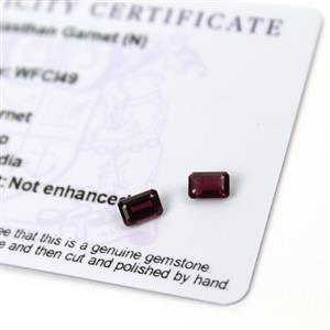 1.15cts Rajasthan Garnet 6x4mm Octagon Pack of 2 (N)