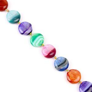200cts Multi-Colour Agate Coins Approx 14mm 38cm strand,