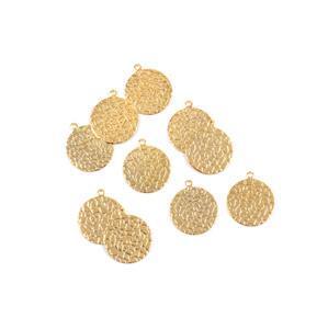 Golden Brass Hammered Circle Blank Approx 23mm 10pk