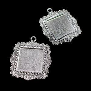 Silver Colour Fancy Square Bezel Pendant Approx 35x40mm (Set of 2)