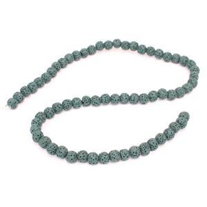 70cts Dark Sea Green Lava Rock Beads Round 6-7mm 15-16""