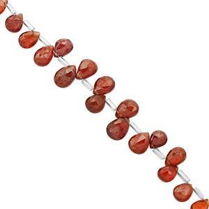 40cts Hessonite Garnet Top Side Drill Faceted Pear Approx 5.5x4.5 to 10x7mm, 20cm Strand with Spacers