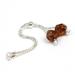 Sterling Silver Slider Bracelet with Baltic Cognac Amber Bead Approx 10x8mm