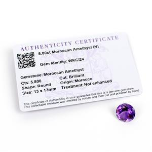 5.8cts Moroccan Amethyst Round Brilliant 13x13mm