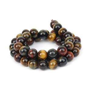 160cts Mixed Colour Tiger Eye Plain Rounds Approx 8mm, 38cm